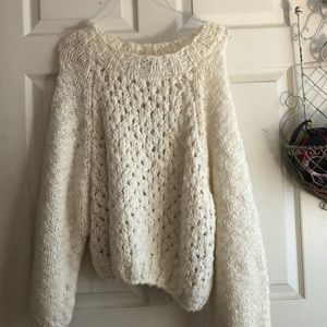 H&M white chunky sweater